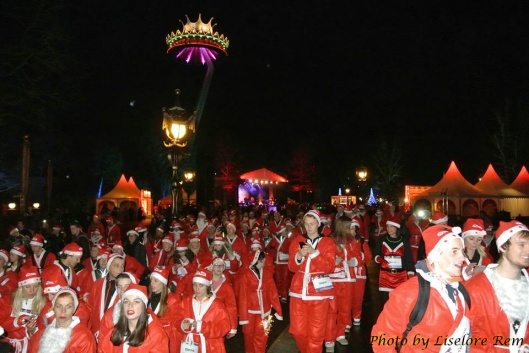 Here they are, a LOT of Santas.